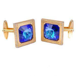W Germany Vintage Cufflinks Rivoli Blue Stone